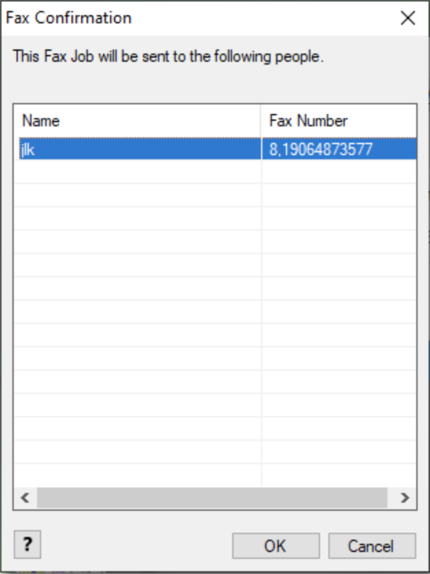 fax confirmation window