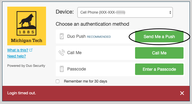 """Duo pop-up window highting the """"send a push"""" option that can be used when the phone is connected to wi-fi."""