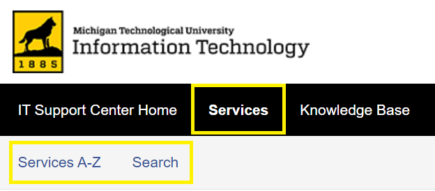 Services, then Services A-Z or Search