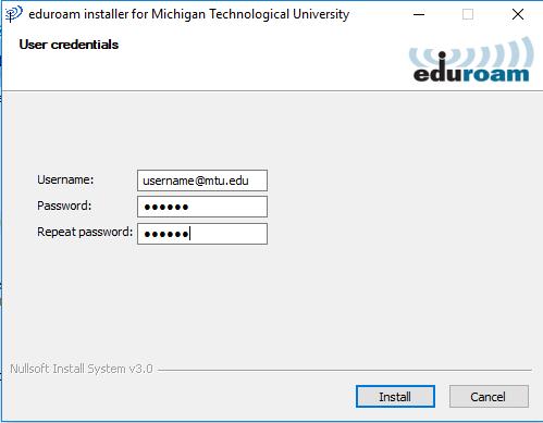enter your MTU credentials