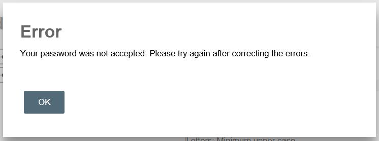 Password change error window