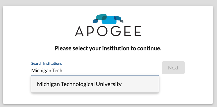 Apogee (mystream2) window with search institutions field