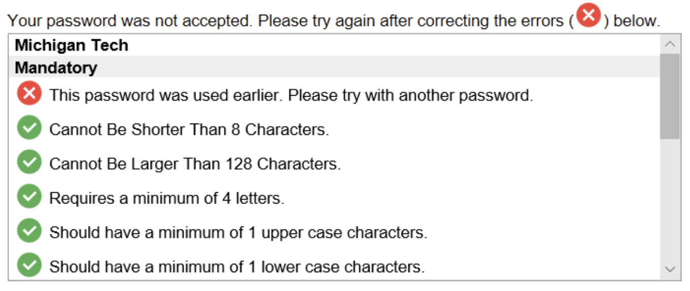 reasons for password error