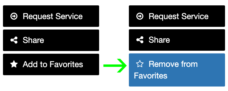 Add to favorites and remove from favorites buttons highlighted