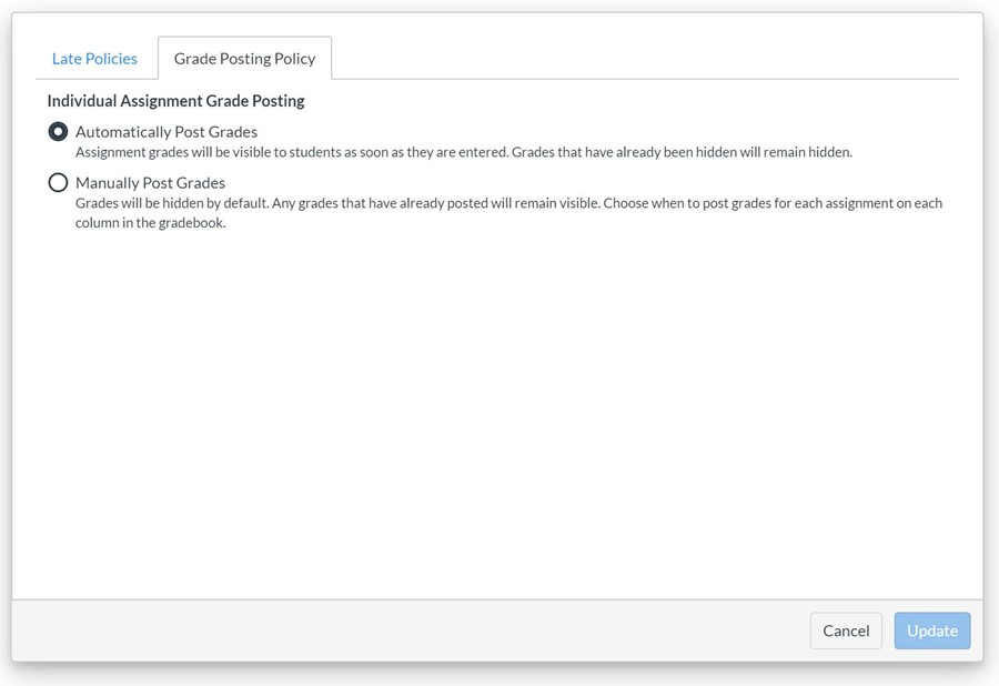 Global grade posting policy from Settings icon