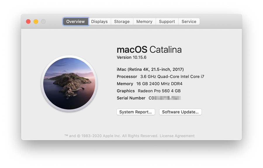 MacOS information window shows operating system version with numerical designation