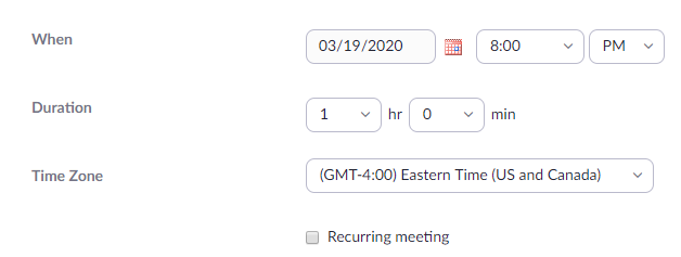 Zoom settings for meeting date