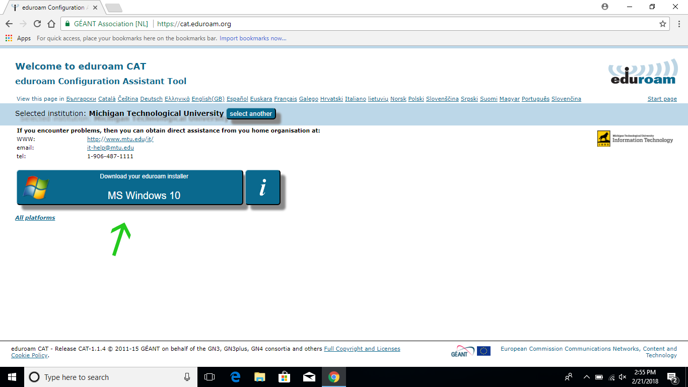 download your eduroam installer