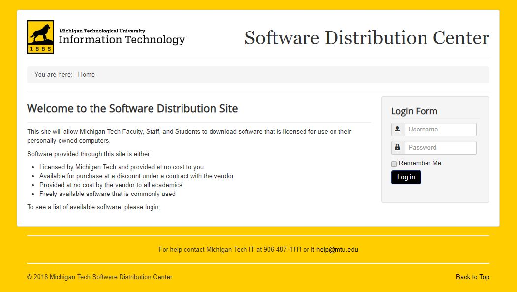 Screen shot of the Software Distribution Center