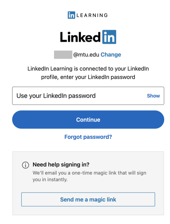 LinkedIn Learning password page that includes a Forgot password? link and Need help signing in? box below