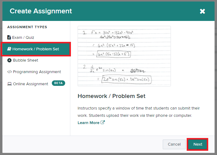 Assignment Type selection menu