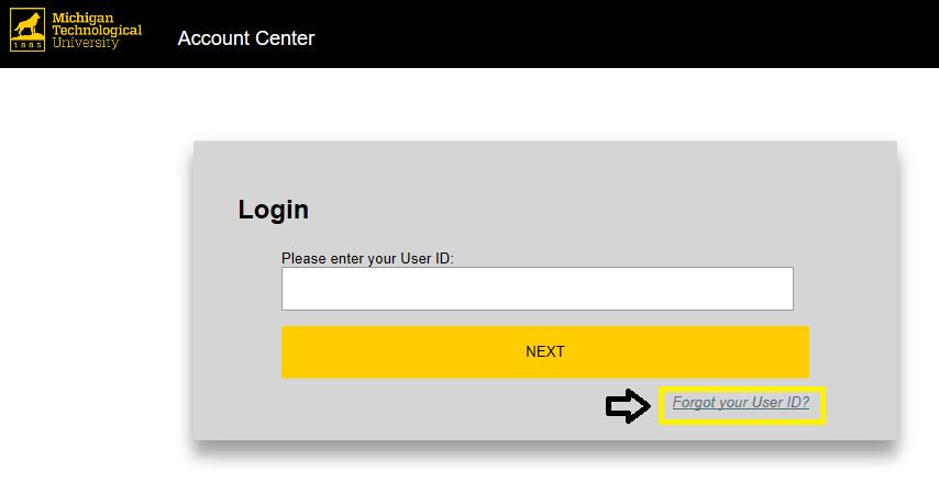 Click Forgot your User ID in login window