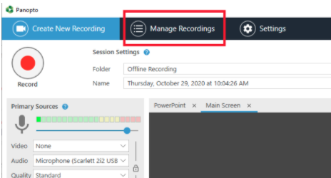 select Manage Recordings in the top toolbar