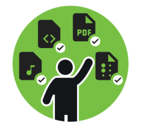 person presented with alternative formats icons - audio, HTML, PDF, and Braille.