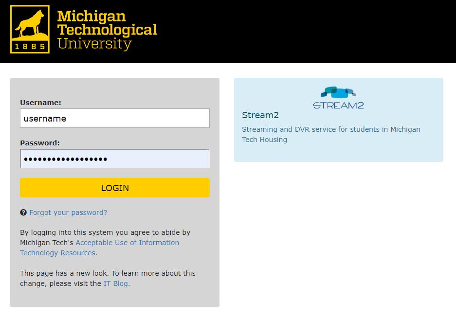 Michigan Tech SSO page