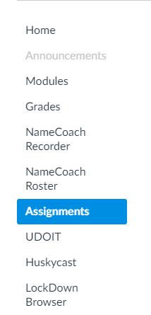 Assignment link on left Navigation bar