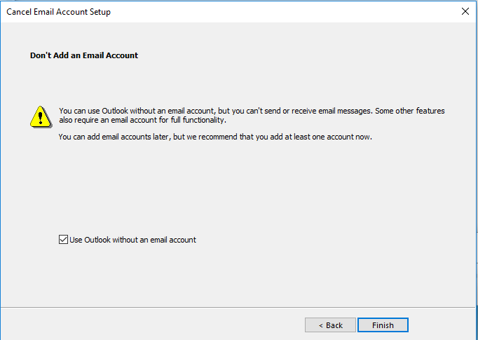 Use Outlook without account