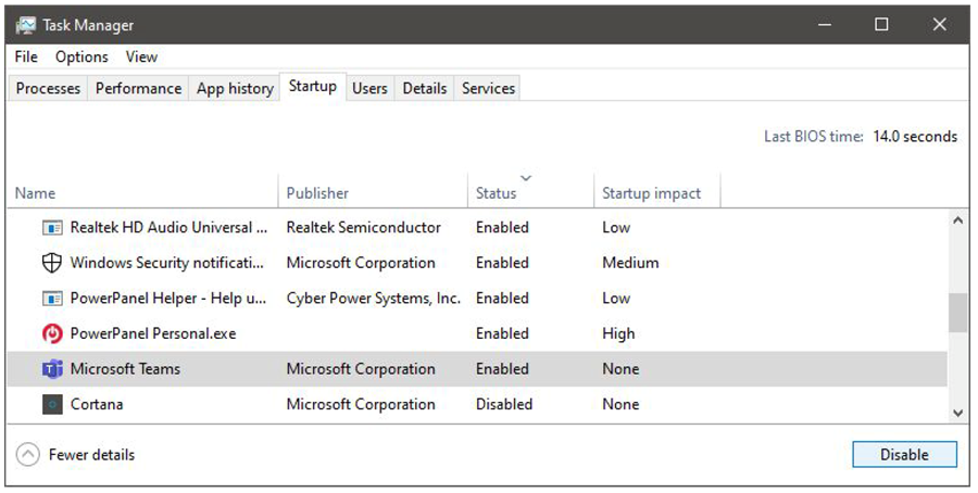 task manager window showing startup tab with Microsoft teams listed