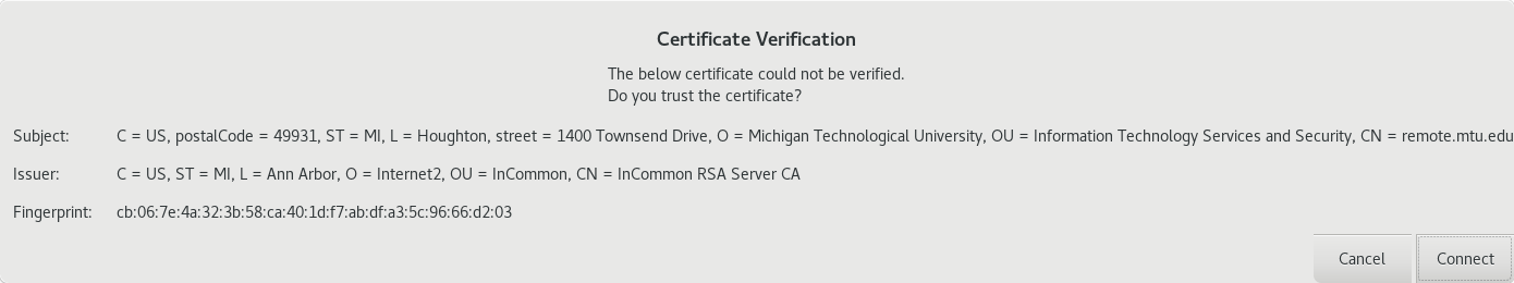Certification Dialog