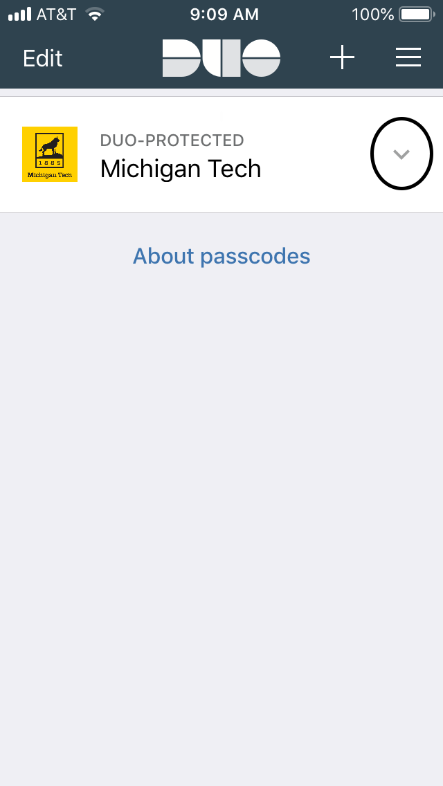 Screen shot of the duo app highlighting the down arrow used to obtain the one-time use code for two-factor authentication