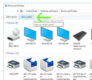 add a printer in the device and printers window