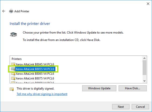 select printer driver