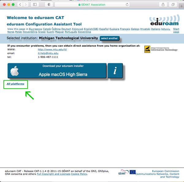 eduroam CAT installer download screen