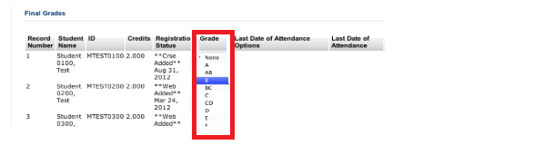 Grade drop down menu