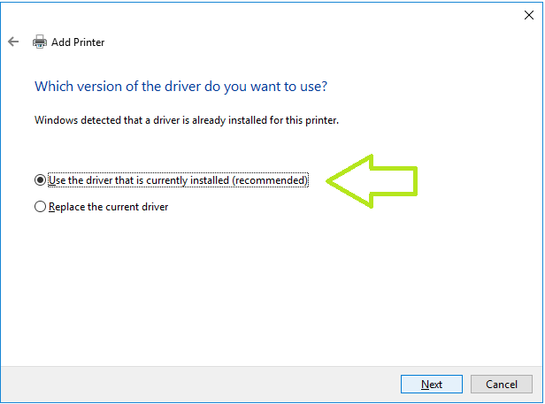use driver that is currently installed