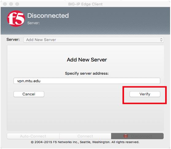 add server address and Select verify