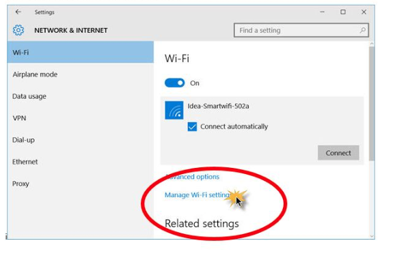 Network and Internet settings - wifi