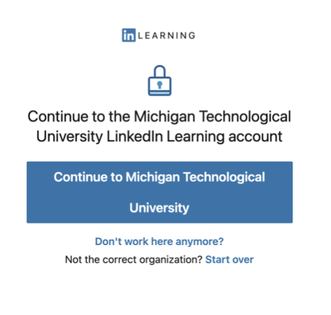 sign in text that shows button to continue to Michigan Technological University