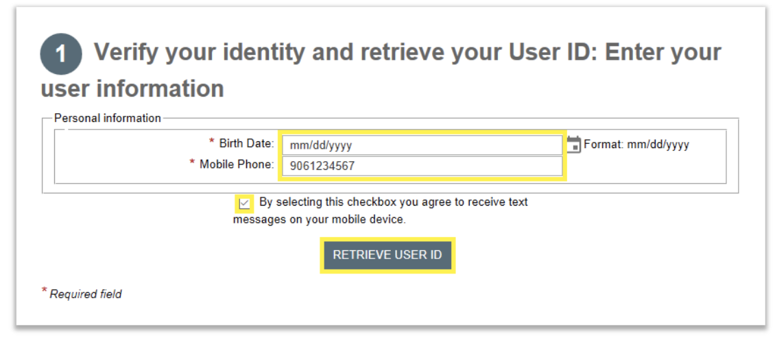User ID Recovery Required Info