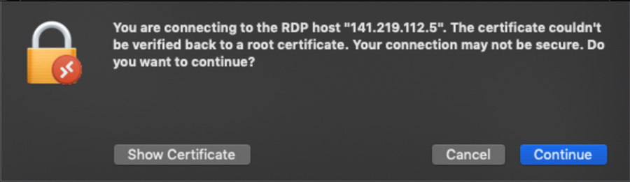 RDP connection message