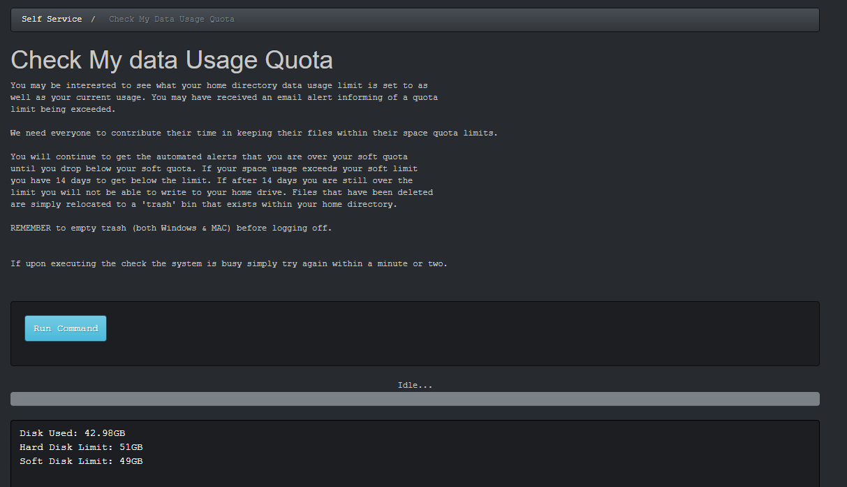Usage output