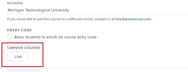 Canvas course link option