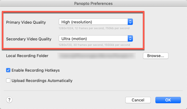 Panopto for macOS preferences window showing resolution options for primary and secondary sources