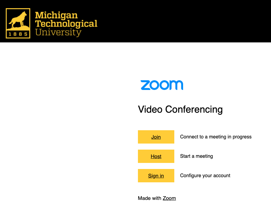 Michigan Tech zoom home page with options for Join, Host, or Sign in