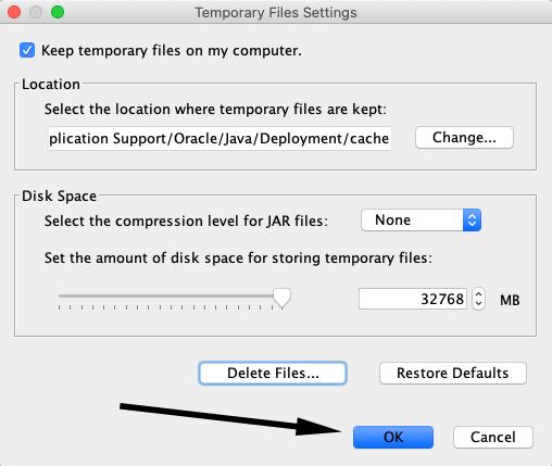 Arrow pointing to OK in Temporary Files Settings pane