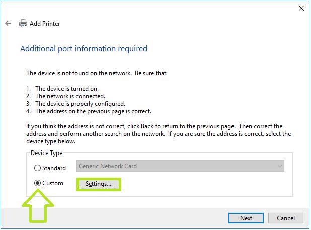 click custom settings