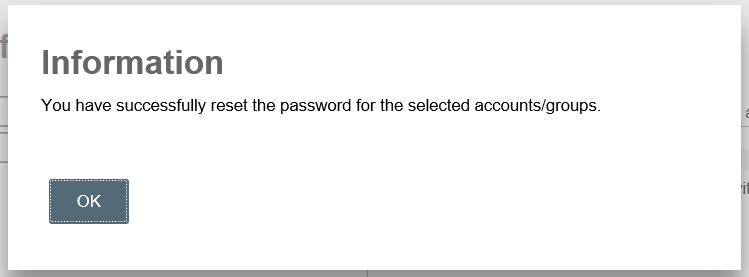 password reset success dialog box