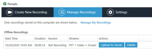 manage recording options for offline recordings