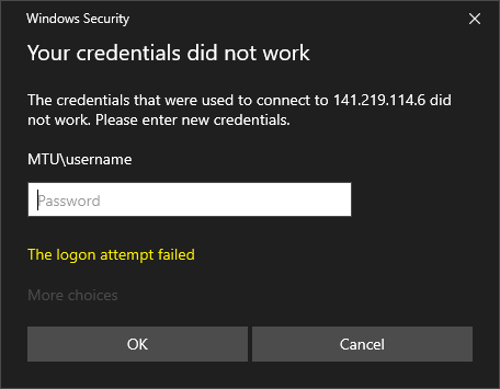 credential error window