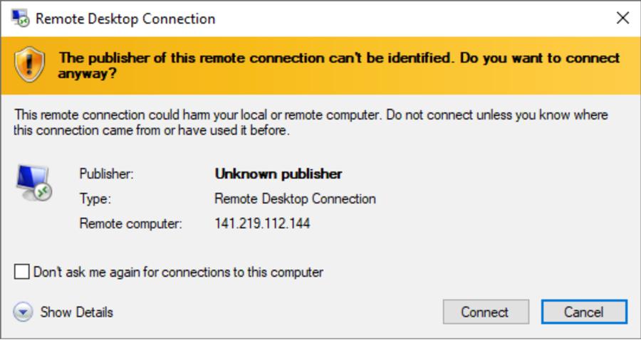 Remote Desktop connection warning popup window
