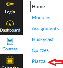 Piazza located in course navigation bar