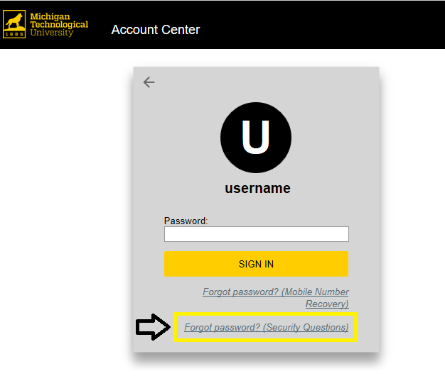 Forgot password - Secret Questions Link