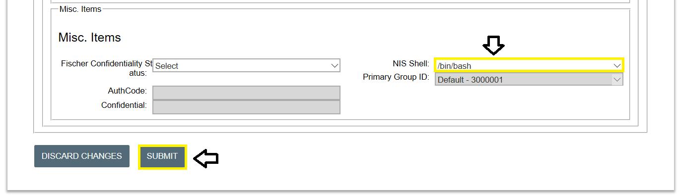 NIS shell dropdown box
