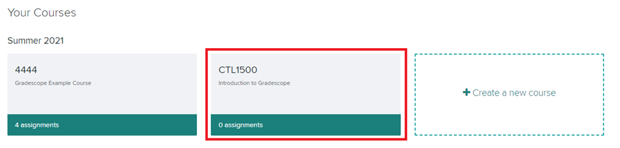 Gradescope dashboard with course cards