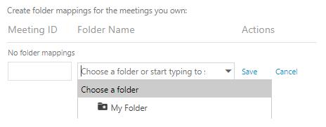 Meeting ID and folder name