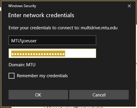 Enter network credentials